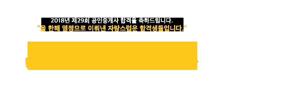 2018년 29회<br/>공인중개사 합격자 현황